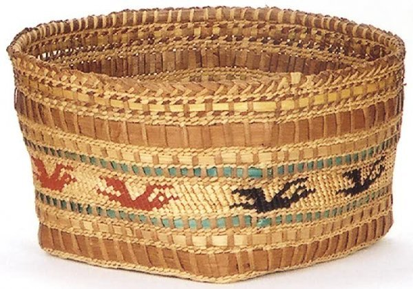 21: MAKAH INDIAN BASKET, twined from cedar bark with be