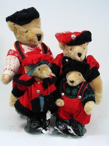 911: A SKATING PARTY OF 4 VANDER BEAR TEDDIES, all in m