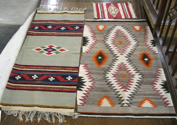 5: THREE SOUTHWEST INDIAN AREA RUGS, hand woven: Navajo