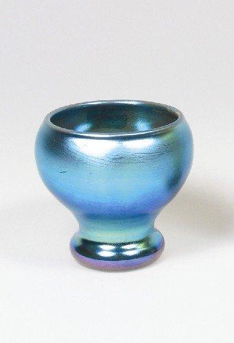2: STEUBEN AURENE BLUE ART GLASS FOOTED BOWL, violet hi