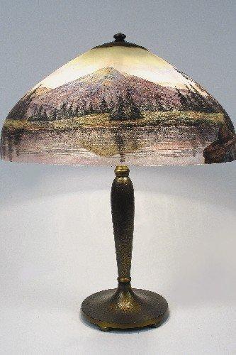 818: HANDEL SCENIC WESTERN LANDSCAPE TABLE LAMP, double