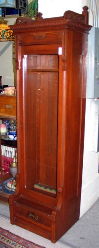 16: VICTORIAN NARROW CHERRYWOOD BOOKCASE, Eastlake desi