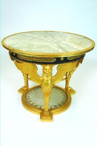 774: FRENCH EMPIRE STYLE ONYX AND GILT-BRONZE TABLE DE