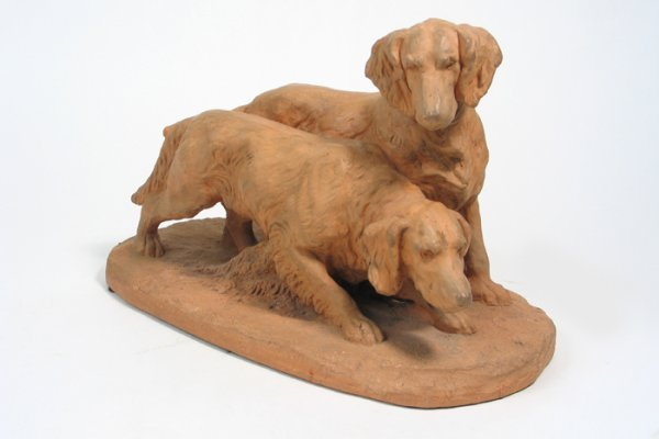 5: FRENCH TERRA COTTA SCULPTURE depicting two alert set
