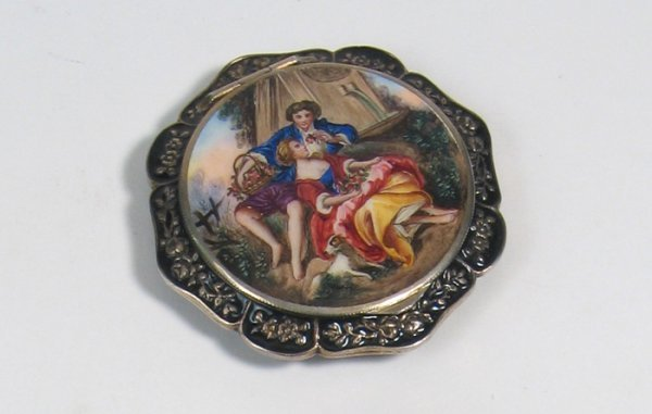 11: A FRENCH STERLING ENAMELED AND GUILLOCHE POWDER VAN
