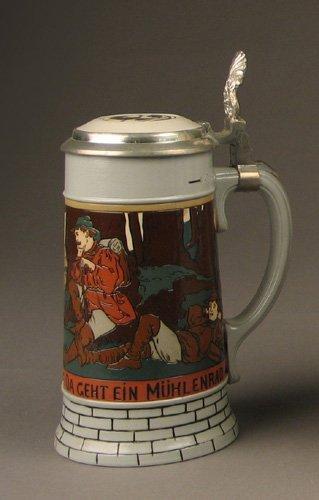 11: A GERMAN METTLACH POTTERY STEIN, #2833B, etched des