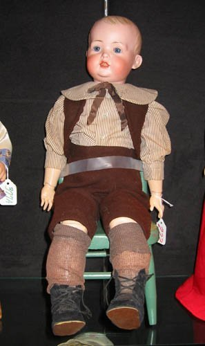 222: A BAHR & PROSCHILD BISQUE HEAD TODDLER BOY DOLL, 2