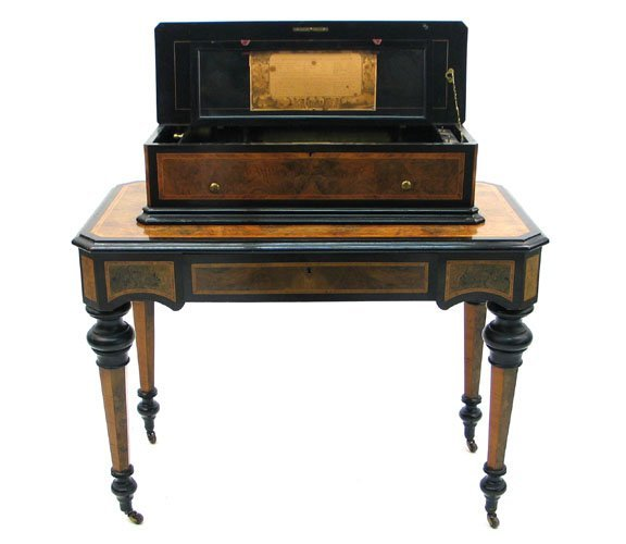 758: CYLINDER MUSIC BOX ON STAND, attributed to Nicole