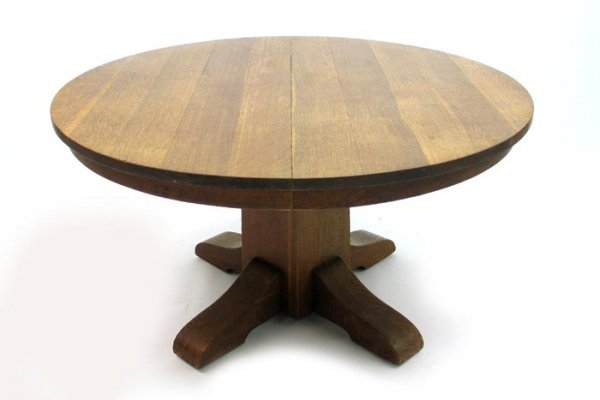 184: STICKLEY ROUND OAK PEDESTAL DINING TABLE, made by