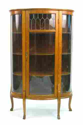 190: LATE VICTORIAN OAK, CURVED AND LEADED GLASS CHINA