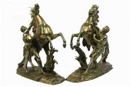 689 PAIR HEAVY BRASS with gilt bronze cast figures M