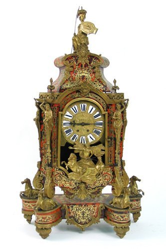 769: LOUIS XV 'BOULLE' STYLE MANTEL CLOCK AND PLINTH, F