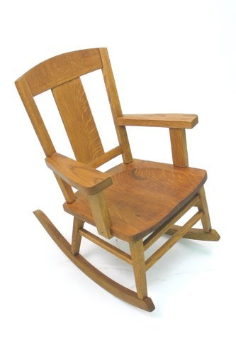 10: CHILD'S ROCKING OAK ARMCHAIR, Heywood Brothers and