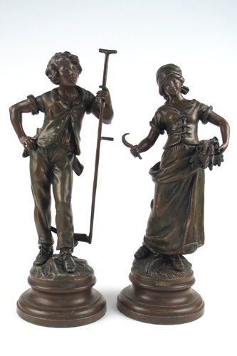 7: PAIR FRENCH SPELTER FIGURES (after the original bron