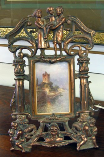 2: PAIR COPPER ON METAL STAND FRAMES, each decorated wi