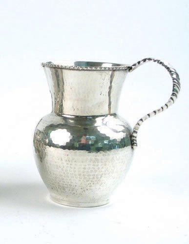 3: A SIGNED ITALIAN .800 FINE SILVER PITCHER, marked by