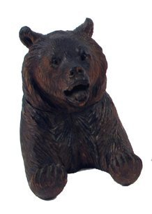 2: A GERMAN BLACK FOREST CARVED BEAR INKWELL, the head