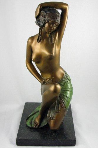 3: BRONZE FIGURE of a partially nude female in Art  Dec