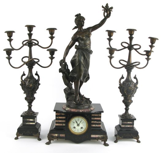 9: A FRENCH THREE-PIECE FIGURAL CLOCK SET, 19th  centur
