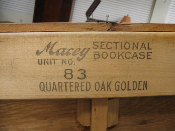 16: THREE-STACK OAK BOOKCASE, American, c. 1910. Each o - 3