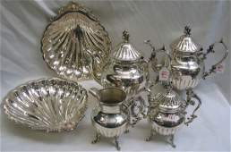 161 A FOUR PIECE ENGLISH SILVER ON COPPER TEA SET AND