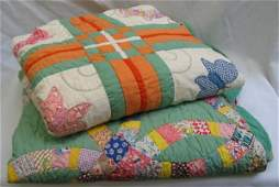 333: TWO AMERICAN HANDMADE PATCHWORK QUILTS, one in a W