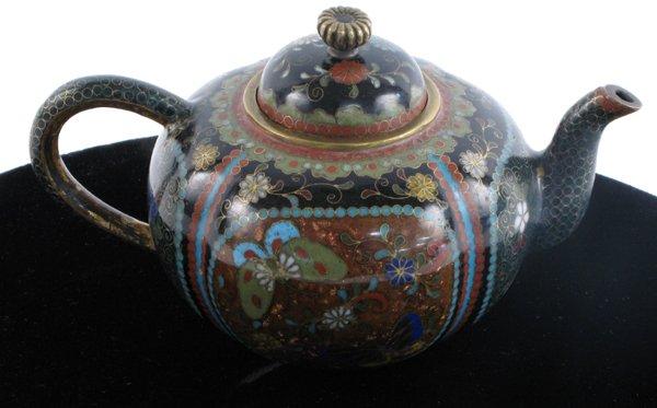 601: CLOISONNE ENAMEL MINIATURE TEA POT, late 19th  cen