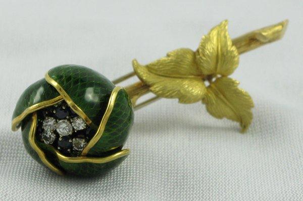 613: SAPPHIRE, DIAMONDS, GREEN ENAMEL AND EIGHTEEN  KAR