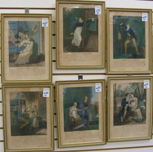 622: SIX FRENCH HAND COLORED ENGRAVINGS, 19th  century.