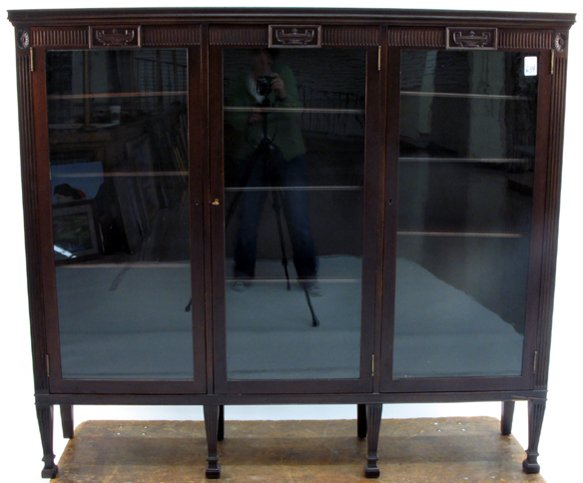 634: NEOCLASSICAL STYLE MAHOGANY CABINET BOOKCASE,  Ame