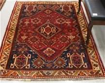 678 TWO PERSIAN SHIRAZ AREA RUGS geometric and  styli