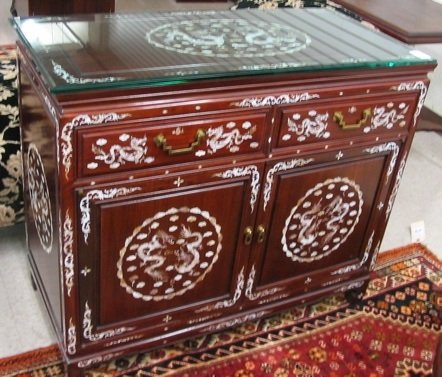 786: CHINESE INLAID ROSEWOOD SIDE CABINET, the  exterio