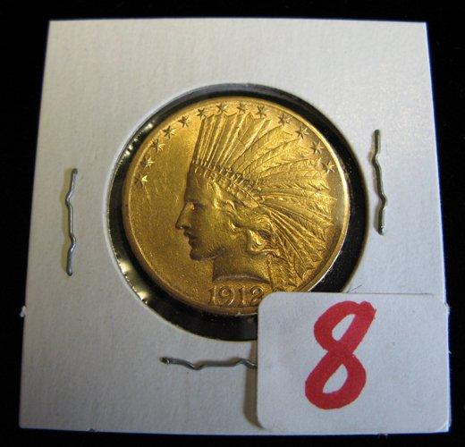 8: U.S. TEN DOLLAR GOLD COIN, Indian head type,  variet