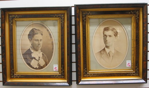 13: PAIR AMERICAN VICTORIAN PERIOD FRAMES, incised  and