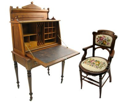 16: A VICTORIAN WALNUT FALL-FRONT DESK WITH CHAIR,  Ame
