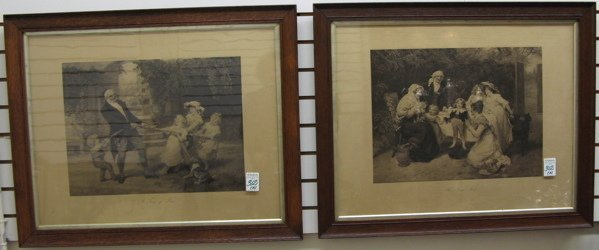 "312: PAIR EDWARDIAN LITHOGRAPHS titled ""Tug of War""  an"