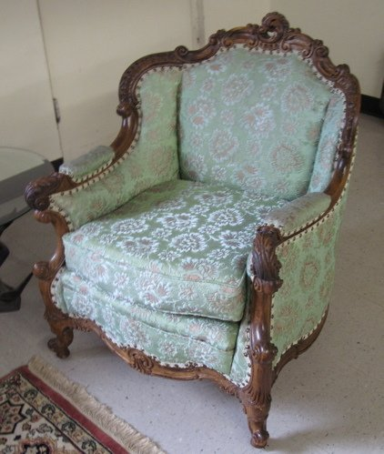 373: A PAIR OF LOUIS XV STYLE ARMCHAIRS, American,  ear