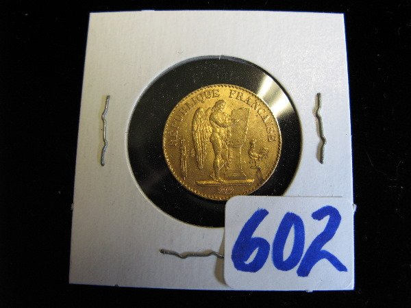 602: 1893 FRENCH TWENTY FRANCS GOLD COIN, obverse  with