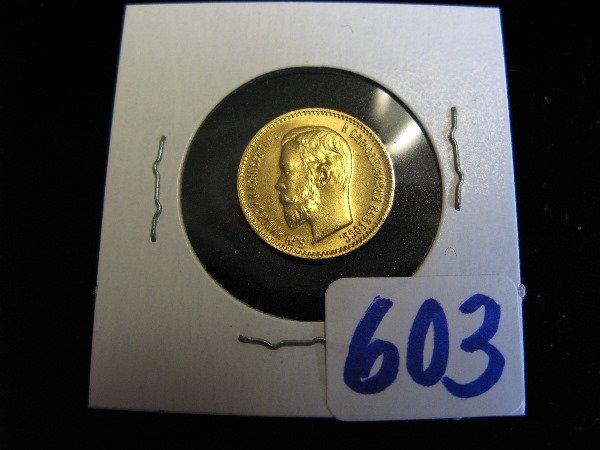 603: 1903 CZARIST RUSSIAN FIVE RUBLES GOLD COIN,  obver