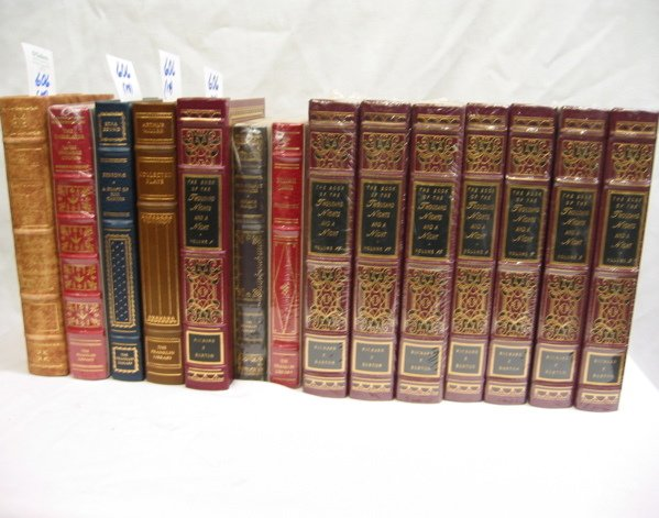 606: A COLLECTIBLE SHELF OF FOURTEEN LEATHER BOUND  BOO