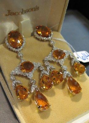 614: CITRINE, DIAMOND & EIGHTEEN K WHITE GOLD  EARRINGS