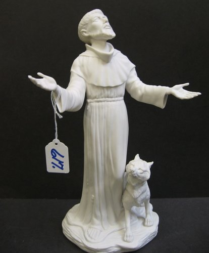 617: BOEHM BISQUE PORCELAIN FIGURE of St. Francis of  A
