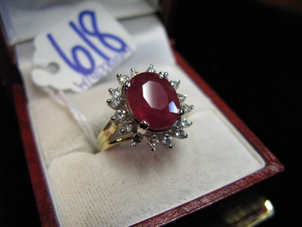 618: RUBY, DIAMOND AND FOURTEEN KARAT WHITE GOLD RING W