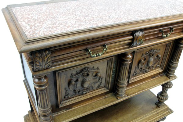 619: RENAISSANCE STYLE CARVED WALNUT SIDE CABINET,  Con