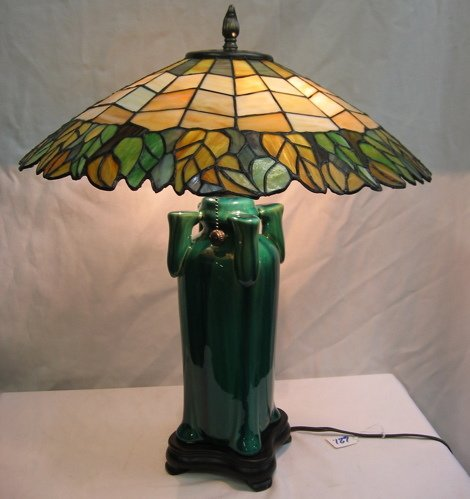 621: AN ART DECO STYLE TABLE LAMP. The 18 in.  diameter