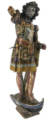 641: VENETIAN CARVED AND POLYCHROMED WOOD FIGURE,  Ital
