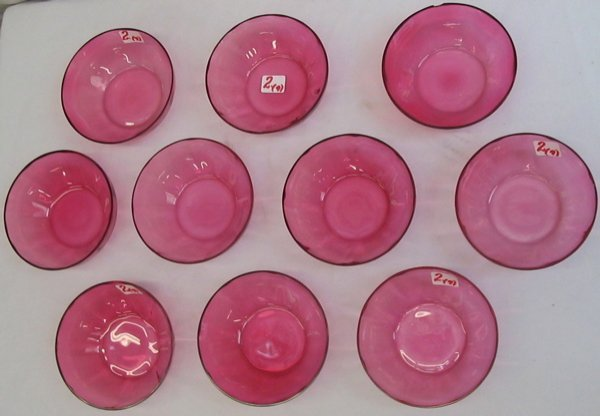2: NINE CRANBERRY GLASS ICE CREAM BOWLS with  thickened