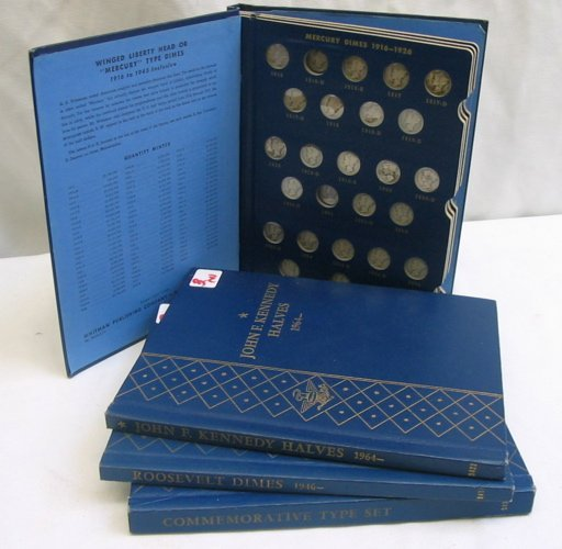 3: FOUR WHITMAN SAMPLER ALBUMS: one with eight  silver