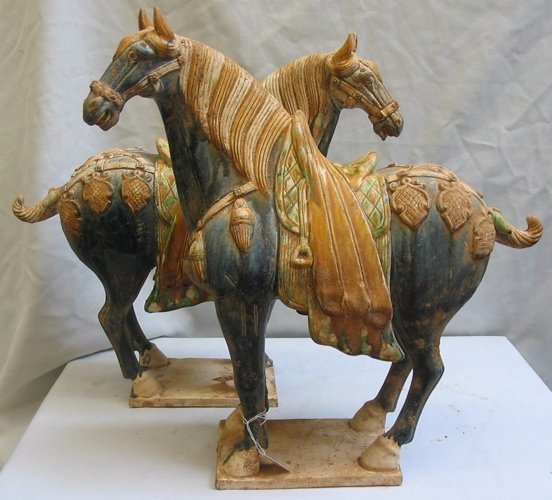 19: PAIR TANG STYLE POTTERY HORSES, traditional  blue a