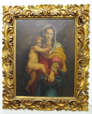 "23: ITALIAN SCHOOL oil on canvas  ""Madonna and Child"","